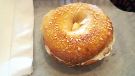 The Bagelery Sesame bagel with cream cheese